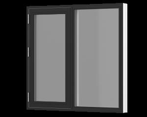 Rationel sidehængt vindue med fast felt . Kan bestilles i træ eller i en vedligeholdelses-fri  træ/alu udgave.  Modellen fås både i en retkantet moderne og klassisk udgave med profilerede karme.    Modellen leveres i en Basic version med 2 lag glas og