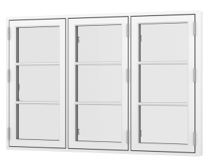 Rationel 3 fags sidehængt vindue med 2 vandrette energisprosse. Vindues kaldes også et bondehus vindue. Vinduet fås både i træ og træ/alu.  Leveres i en klassisk model med 25 mm energisprosse og en moderne model med en 31 mm energisprosse. Vælg mellem va