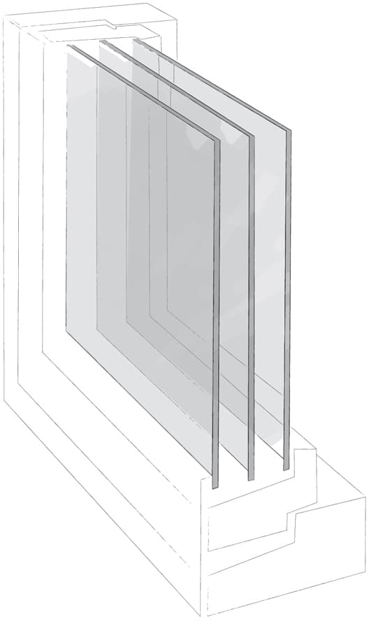 opbygning af 3-lags vindue
